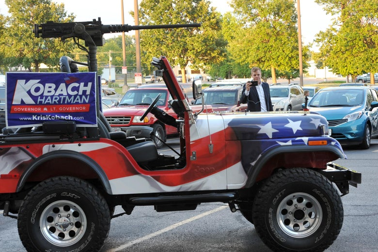 TOPEKA, KS - AUGUST 07: A jeep equipped with a military style mounted gun that was used heavily by Republican primary candidate for Governor Kris Kobach.   Kobach sits outside the Capitol Hotel, the site of the Kobach watch party. Kobach was supported by President Trump against incumbent Governor Jeff Colyer on August 7, 2018 in Topeka, Kansas. (Photo by Steve Pope/Getty Images)