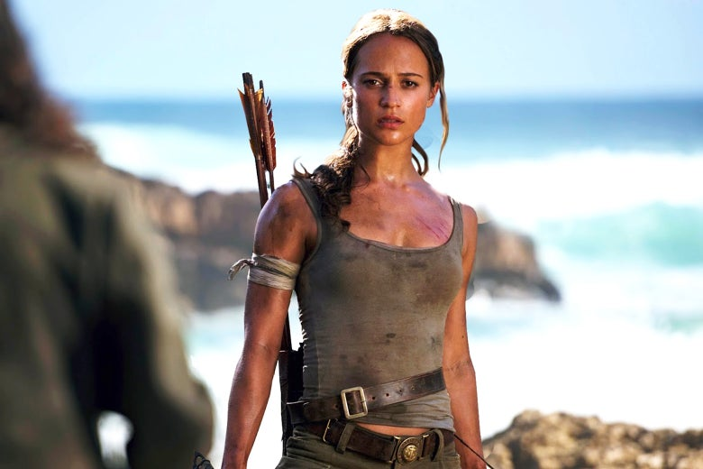 Alicia Vikander as Lara Croft in Tomb Raider.