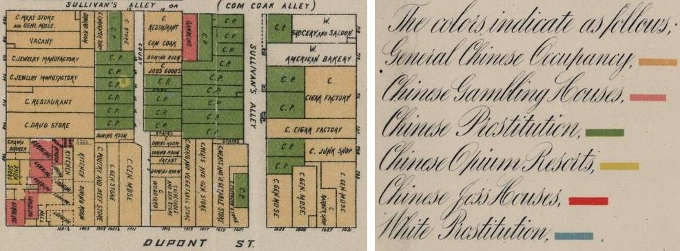 San Francisco Chinatown 1885 Map Shows Gambling Prostitution