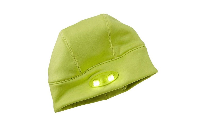 A kids beanie with a light on the front.