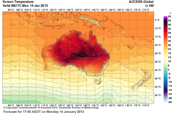 Australia weather maps get new color: bright purple