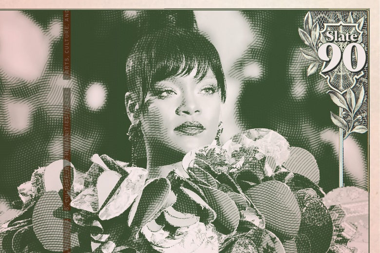 Paper currency showing Rhianna at the Met Ball.