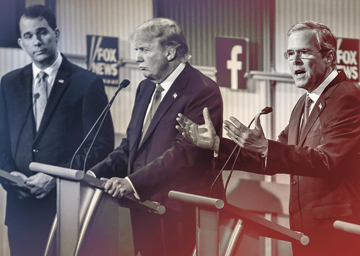 Republican presidential candidates Scott Walker, Donald Trump, and Jeb Bush participate in the first prime-time presidential debate, hosted by Fox News and Facebook at the Quicken Loans Arena on Aug. 6, 2015, in Cleveland.
