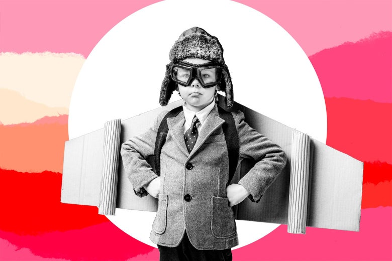 Photo illustration of a young boy wearing cardboard wings and pilot goggles.