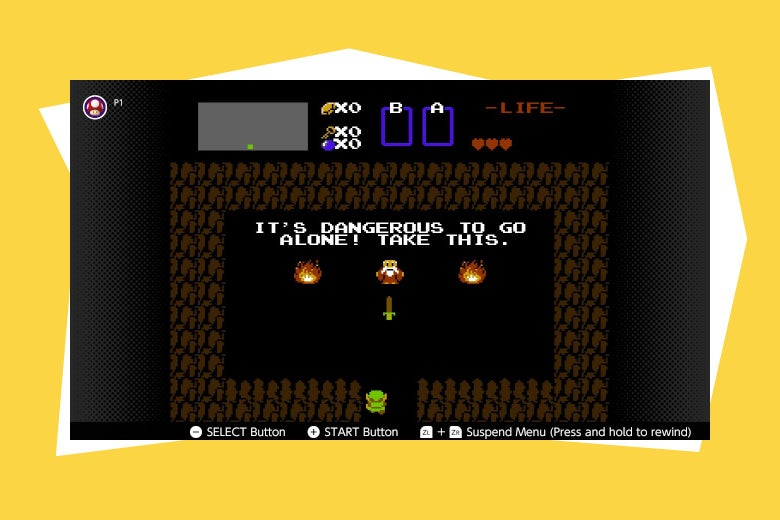 "Text reads ""It's dangerous to go it alone. Take this."" over an overhead shot of a room in Zelda."