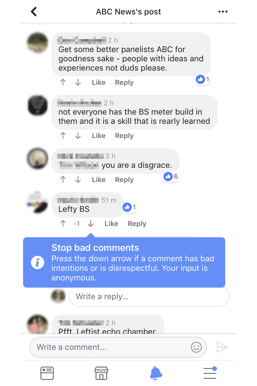 Screenshot of Facebook comments, highlighting the downvote option.