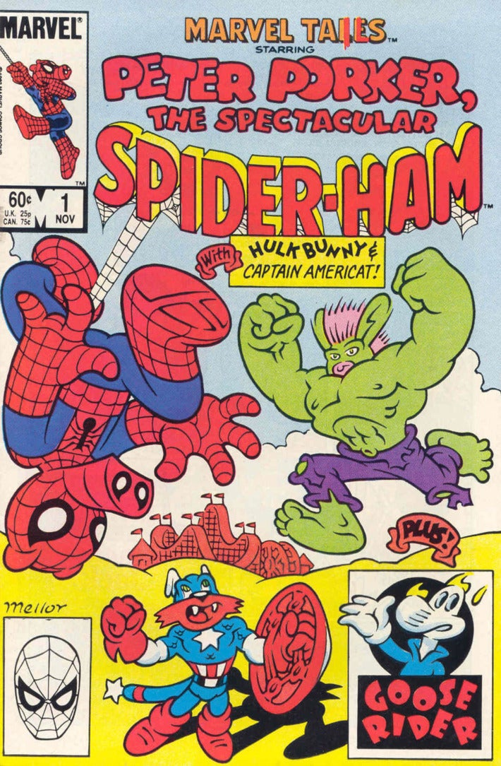 the cover of Peter Porker: The Spectacular Spider-Ham shows him facing off against Hulkbunny and Captain Americat