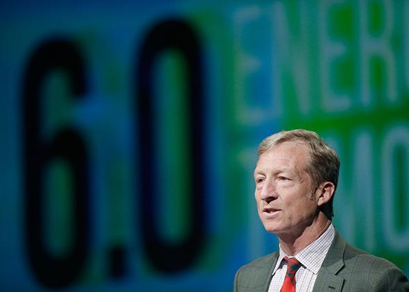 Tom Steyer introduces a panel during the National Clean Energy Summit.