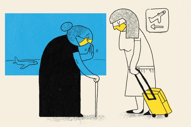 An illustration of a crying older woman with a cane wearing a face mask waving goodbye to her daughter in an airport.