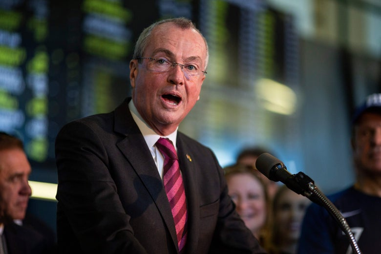 New Jersey Governor Phil Murphy speaking at a New Jersey sportsbook.