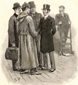 "Rendering depicting characters in story ""The Adventure of Silver Blaze"" from Sir Arthur Conan Doyle's Sherlock Holmes series."