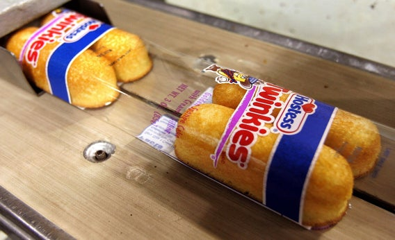Hostess Twinkies move through the packaging process.