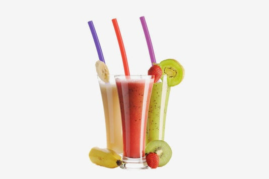 Hiware 12 Inch Extra Long Silicone Straws being used in smoothies.