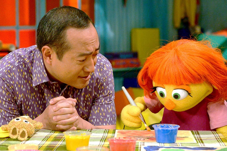 Alan and Julia in Sesame Street