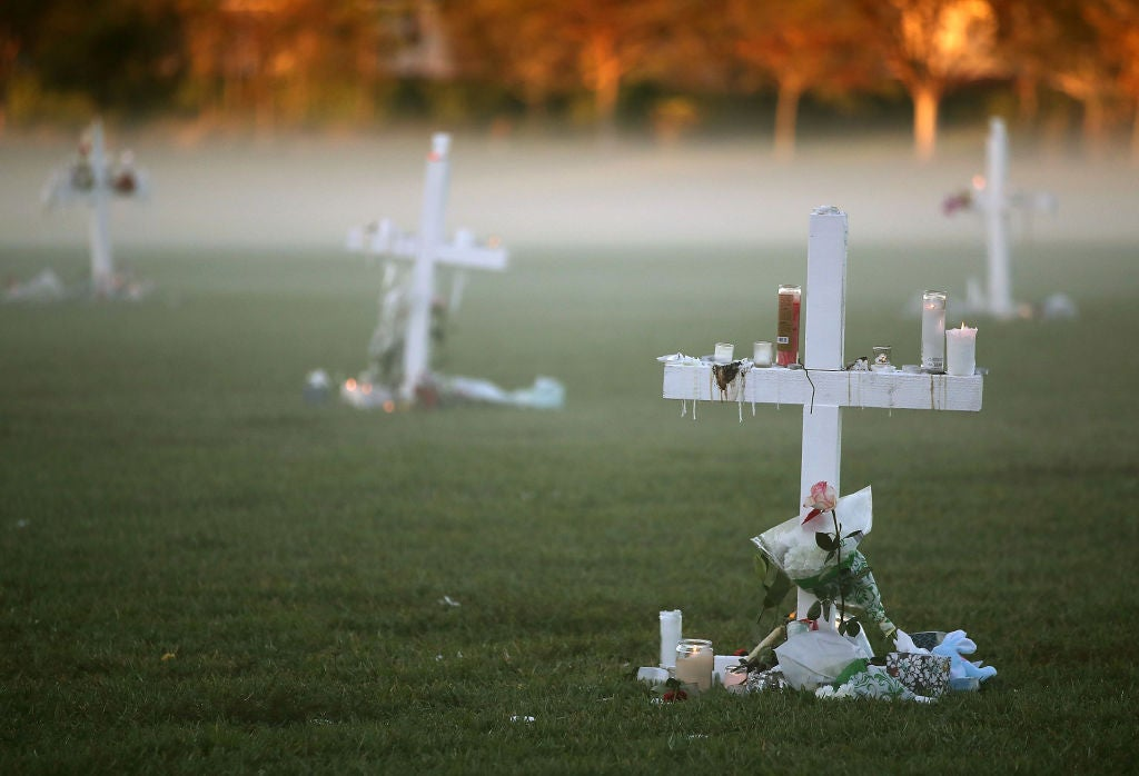 The site of a Thursday-night vigil for victims of the Parkland, Florida massacre as photographed on Friday morning.