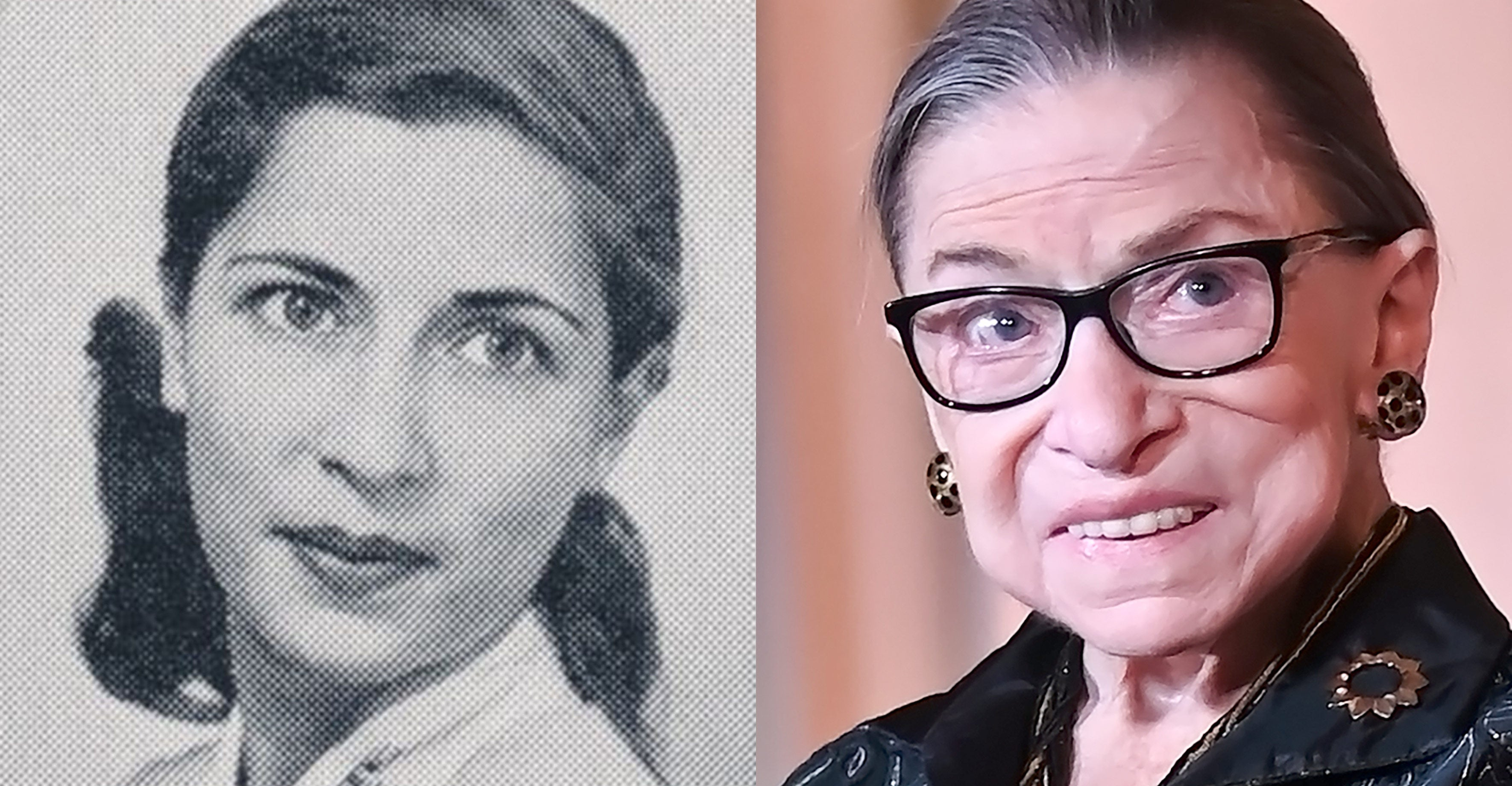 RBG at Harvard Law School and current day RBG.