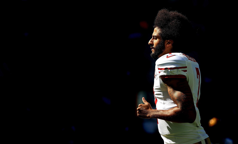 Kaepernick in his 49ers uniform in profile