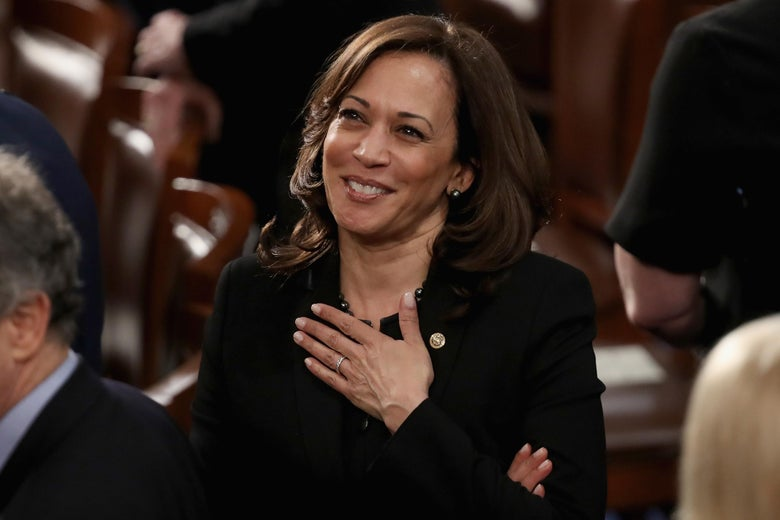 California Sen. Kamala Harris greets fellow lawmakers ahead of the State of the Union on Tuesday in Washington.