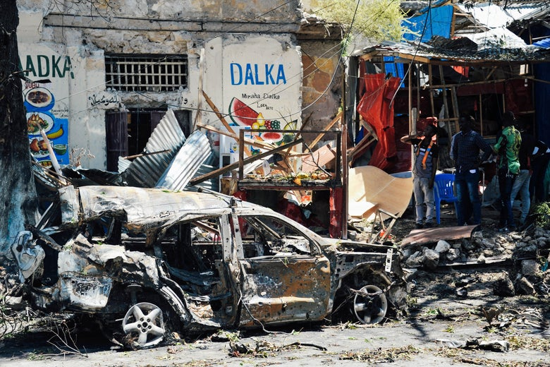 The scene of a car bomb attack in Mogadishu, Somalia.