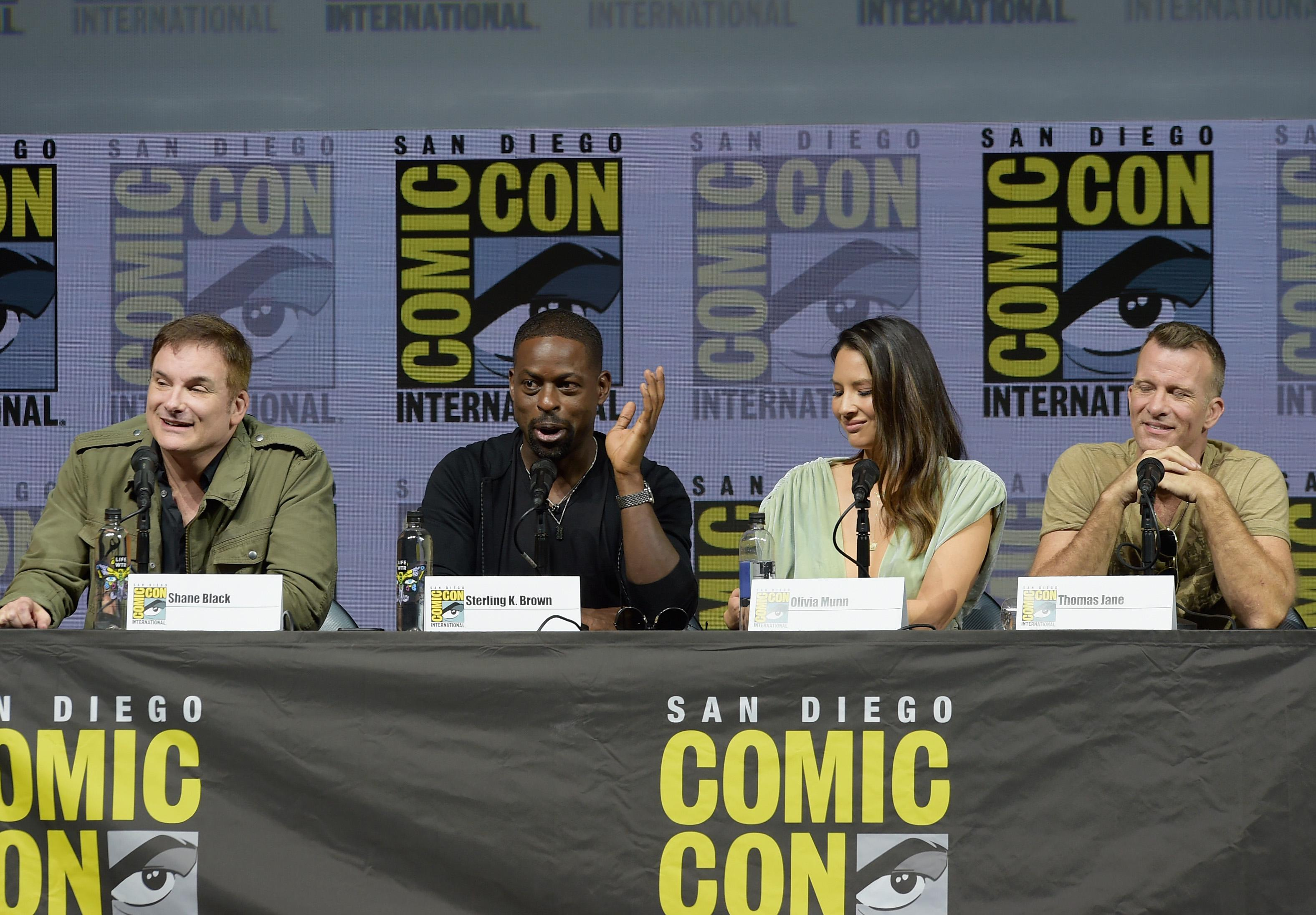 Shane Black, Sterling K. Brown, Olivia Munn, and Thomas Jane at 20th Century Fox's The Predator Comic-Con panel.