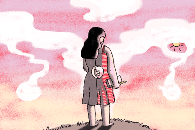 Illustration of a woman with a hole in her uterus in front of a sunny sky with clouds shaped like a uterus and the sun in her fallopian tube.