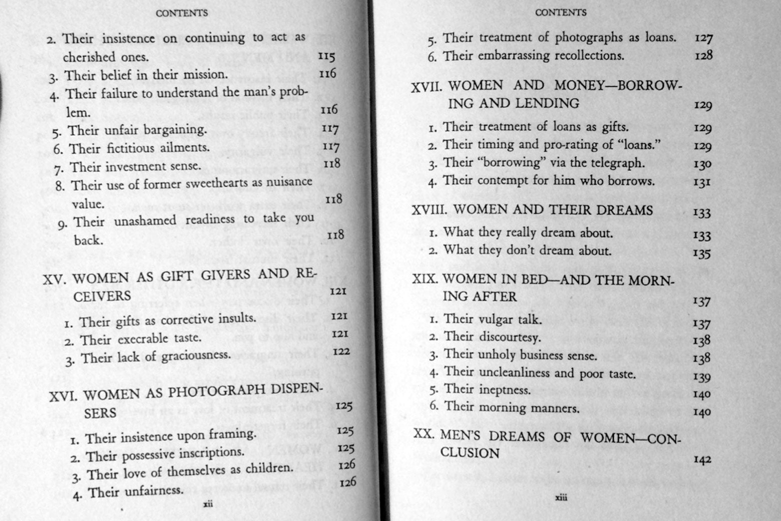 "Table of contents for such chapters as ""Women as Photograph Dispensers"" and ""Women in Bed—and the Morning After."""