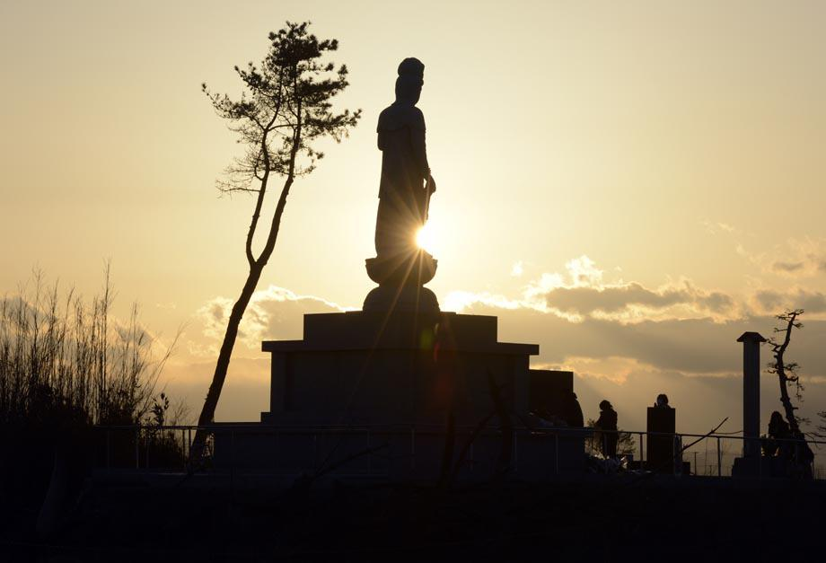 A Buddhist statue recently built in honor of tsunami victims.