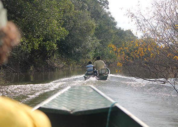 Riding a boat on the Araguaia River, Araguaia National Park, Bra