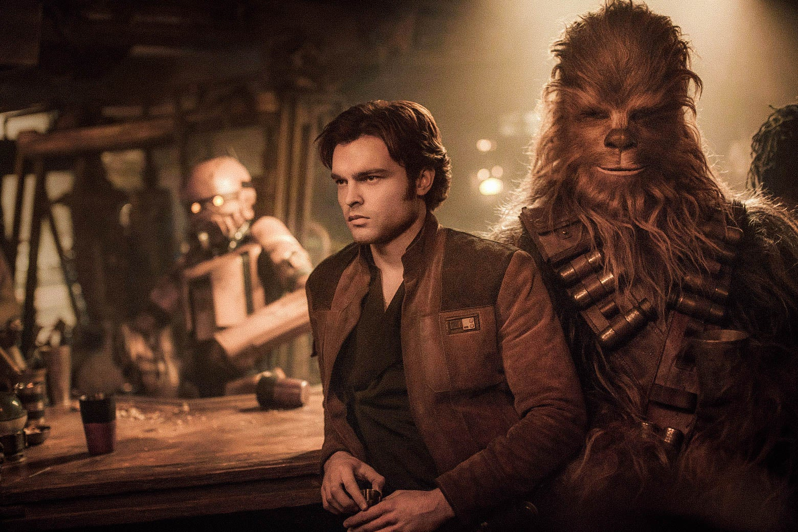 Alden Ehrenreich as Han Solo and Joonas Suotamo as Chewbacca in Solo: A Star Wars Story.