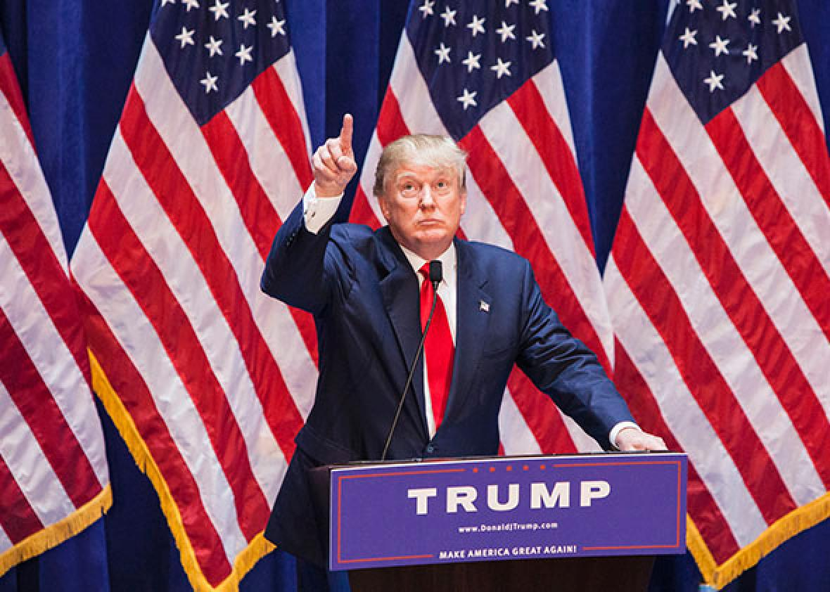 Business mogul Donald Trump gives a speech as he announces his c