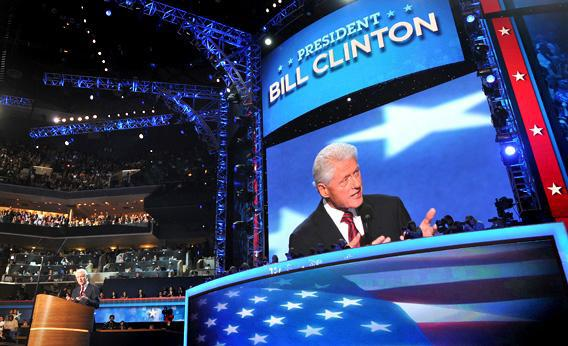 Bill Clinton addresses the audience at the Democratic National Convention in Charlotte, NC, on Wednesday, the second day of the DNC.