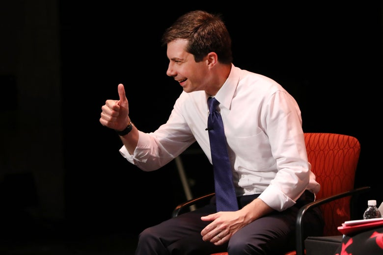 Democratic presidential hopeful Mayor Pete Buttigieg participates in a talk at LaGuardia Community College on May 22, 2019 in New York City.
