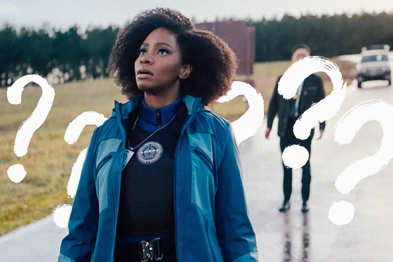 Monica Rambeau stares at the sky, and a bunch of question marks appear.