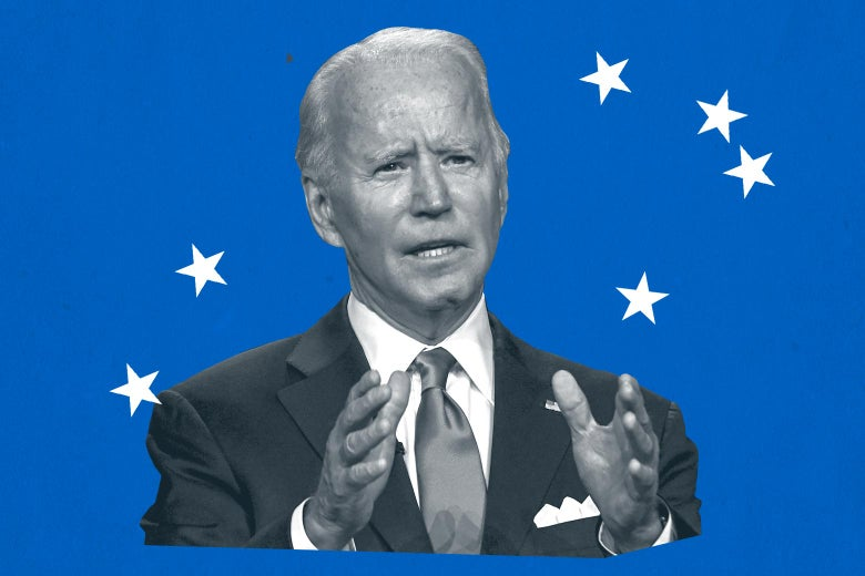 Joe Biden, in black and white, gestures with his hands against a blue background with white stars.