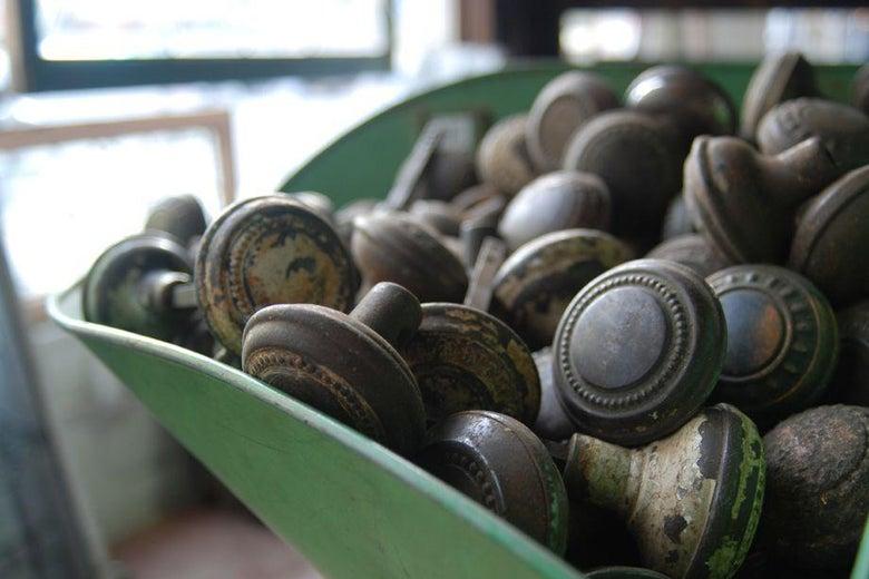 A pile of doorknobs.
