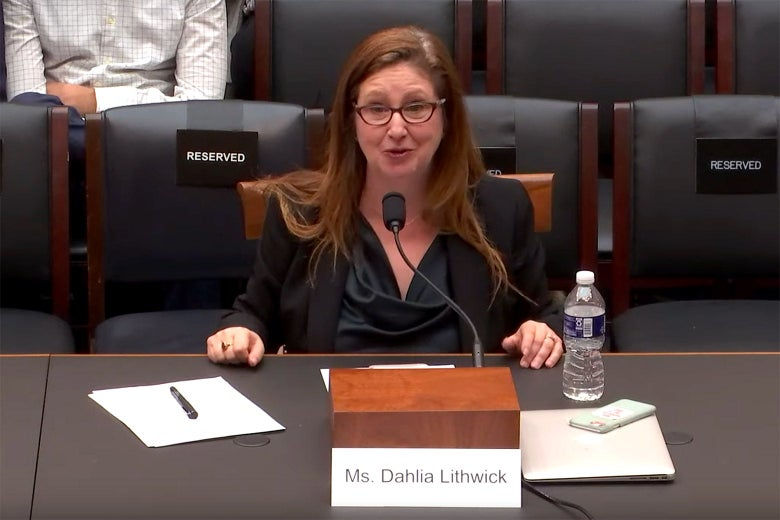 Dahlia Lithwick speaks into a microphone when testifying to the House Judiciary Committee.