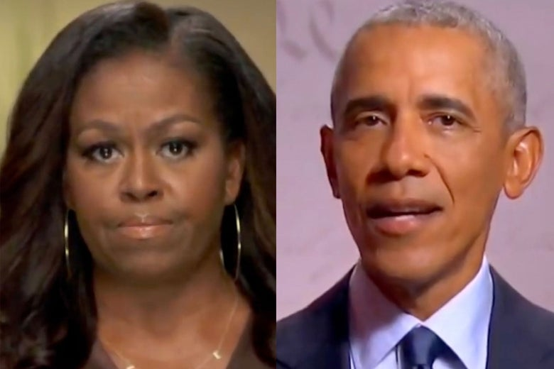 Screenshots of Michelle and Barack Obama speaking this week.