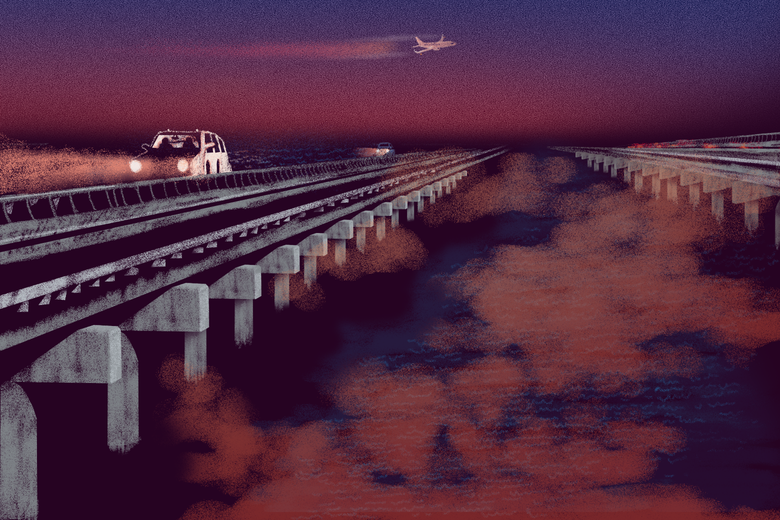 A station wagon drives across the Lake Pontchartrain Causeway as an airplane flies overhead.