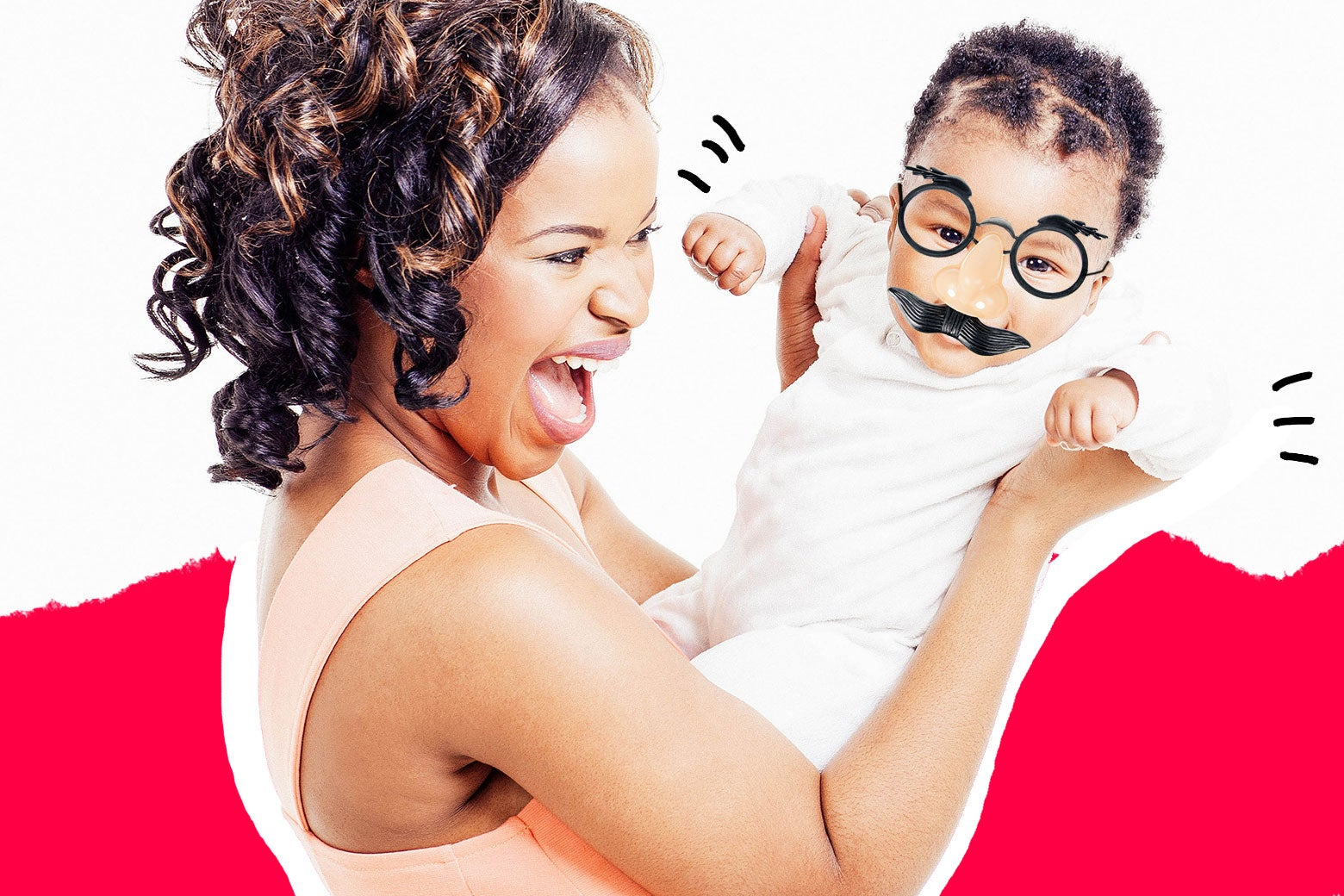Woman caring for an infant. Infant is wearing silly glasses and laughing.