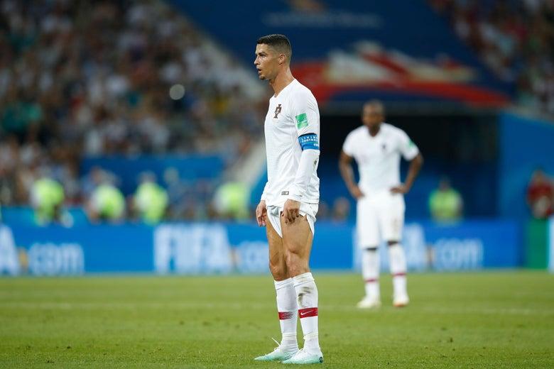40754b543ac Cristiano Ronaldo prepares to take a free kick.