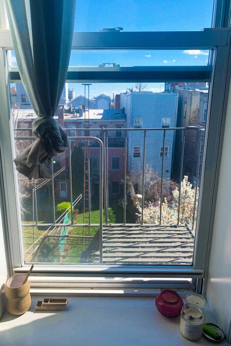A window onto a fire escape facing a grass courtyard on a sunny early spring day.