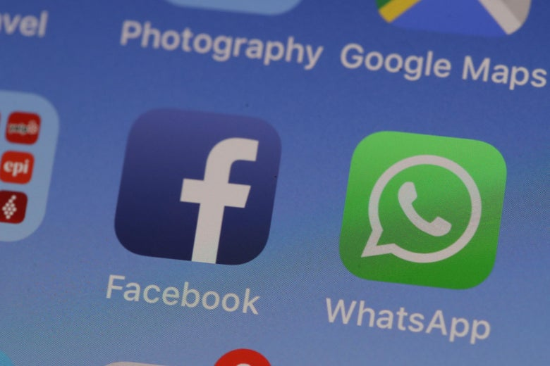 The Facebook and WhatsApp applications are displayed on an Apple iPhone on May 14, 2019 in San Anselmo, California.