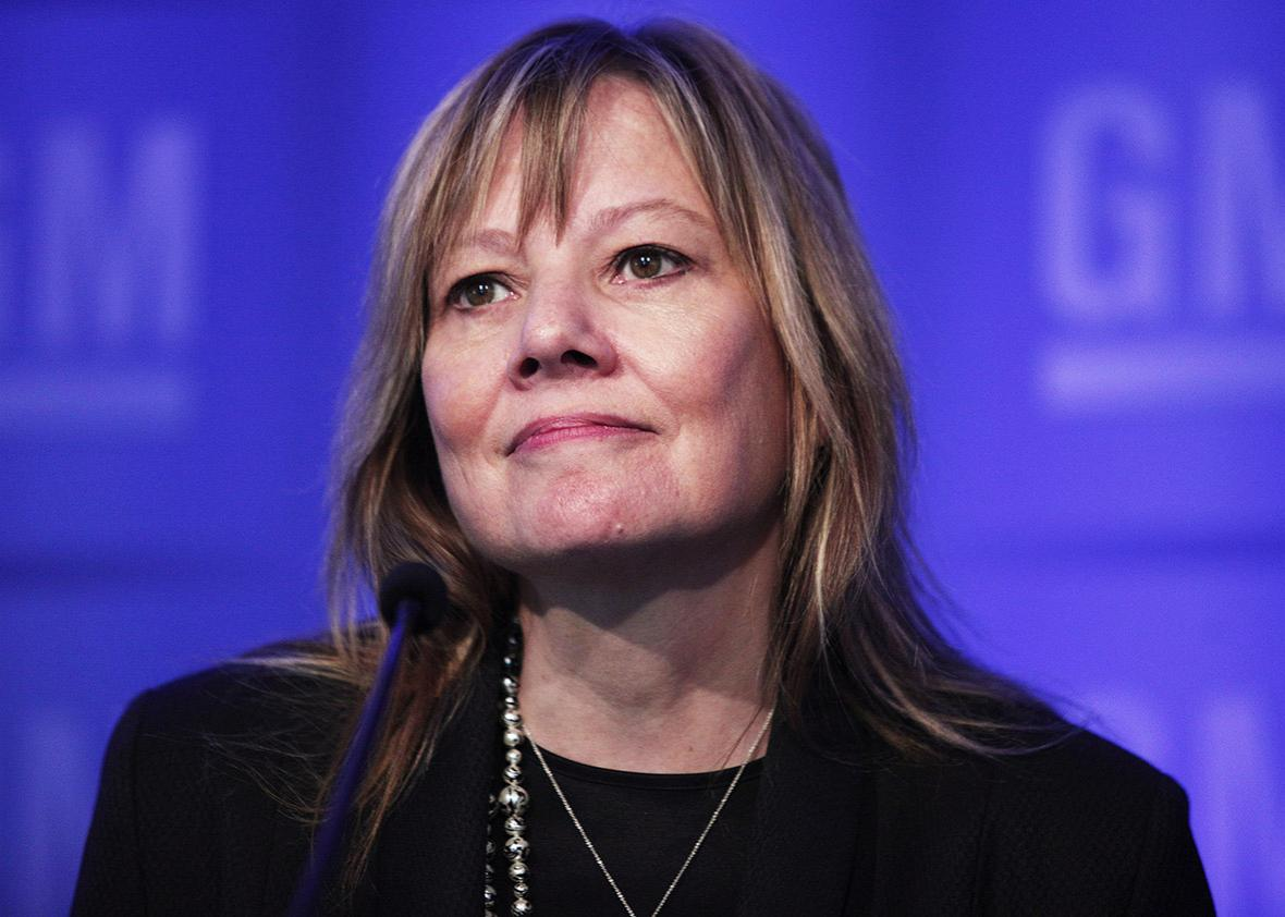 Mary Barra, Chairman and CEO of General Motors, holds a media briefing at the 2016 GM Annual Meeting of Shareholders on June 7, 2016 in Detroit, Michigan.