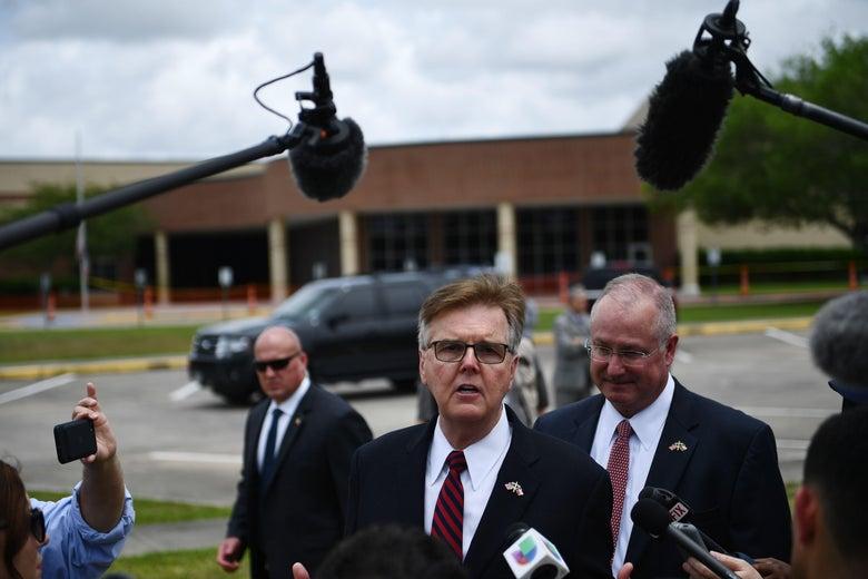 Texas Lieutenant Governor Dan Patrick speaks to the press
