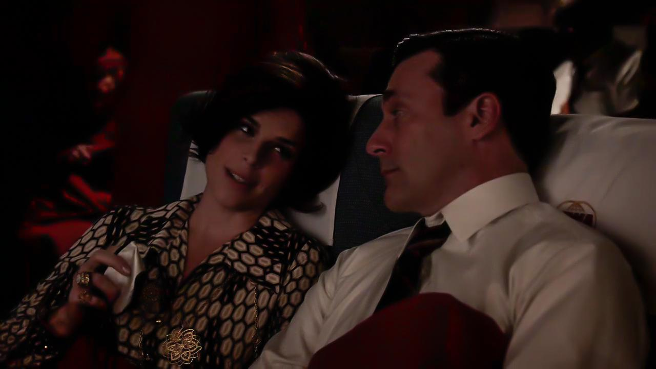 Neve Campbell and Jon Hamm in Mad Men