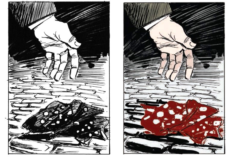 Side by side image: black and white and colorized red handkerchief