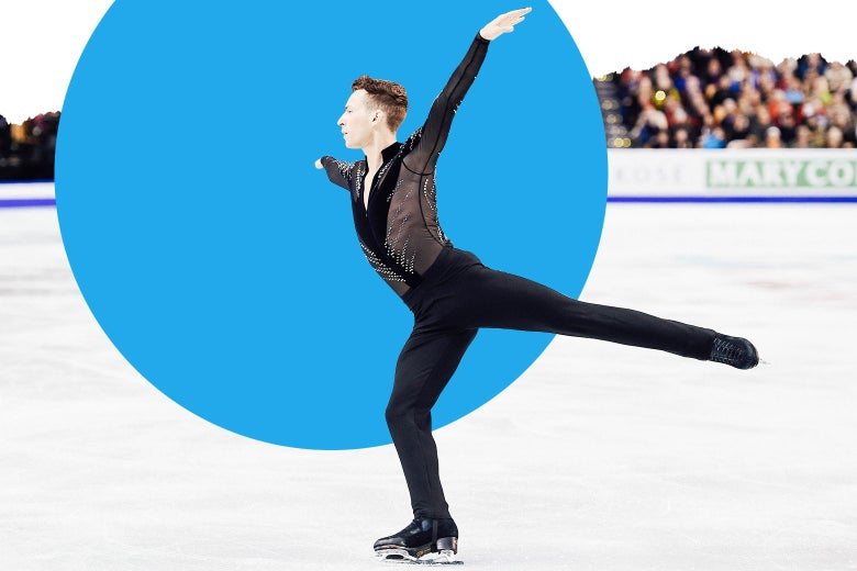 Adam Rippon skates in a black mesh long-sleeve top.