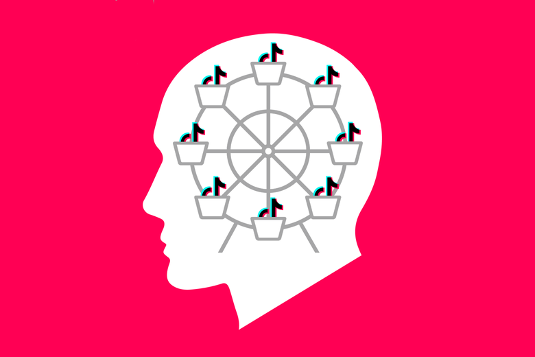 A silhouette of a head with a ferris wheel filled with TikTok logos.