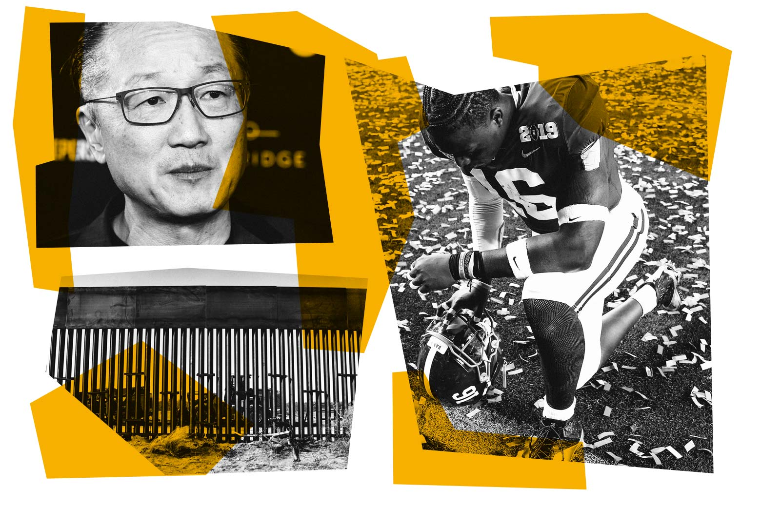 Slate News Quiz collage featuring Jim Yong Kim, an Alabama football player, and a border fence prototype.