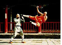 Coach Cheng's flying sidekick inside the Shaolin Temple